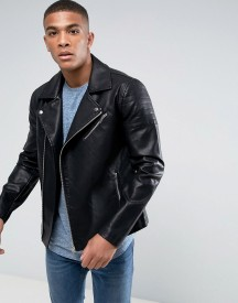 Only & Sons Faux Leather Biker Jacket afbeelding