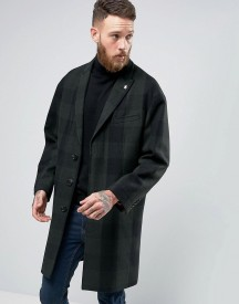 Penguin Formal Green And Navy Check Overcoat afbeelding