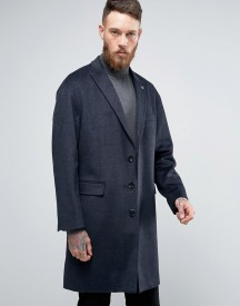 Penguin Formal Navy Textured Check Overcoat afbeelding