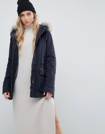 Parka London Alana Faux Fur Trim Parka Coat afbeelding