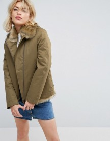 Parka London Aya Faux Fur Lined Lightweight Jacket afbeelding