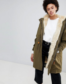 Parka London Connie Military Parka Coat With Faux Fur Lining afbeelding