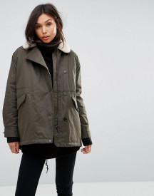 Parka London Swing Coat With Shearling Collar afbeelding