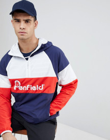 Penfield Block Overhead Hooded Jacket Front Logo In Navy/white/red afbeelding