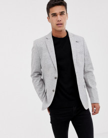 Pier One Brushed Herringbone Blazer In Light Grey afbeelding