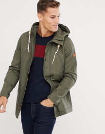 Pier One Lightweight Parka In Khaki With Popper Fastenings afbeelding