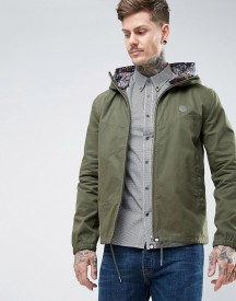 Pretty Green Beckford Jacket With Printed Paisley Hood In Green afbeelding