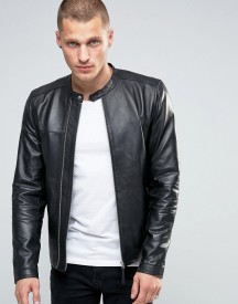 Pretty Green Leather Biker Jacket In Slim Fit Black afbeelding