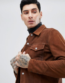 Pretty Green Suede Leather Jacket In Tan afbeelding