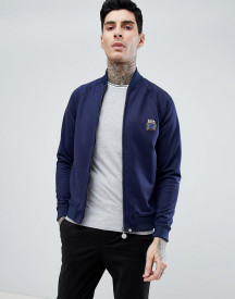 Pretty Green Zip Tricot Track Jacket In Navy afbeelding