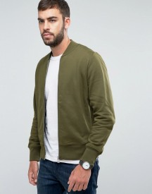Ps By Paul Smith Logo Sweat Bomber Jacket In Khaki afbeelding