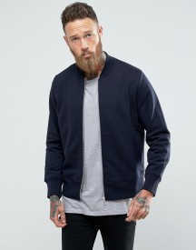 Ps By Paul Smith Logo Sweat Bomber Jacket In Navy afbeelding