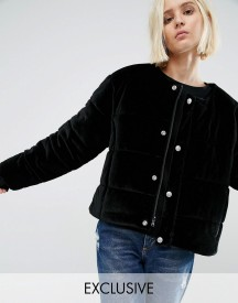 Puffa Oversized Collarless Padded Jacket In Velvet afbeelding