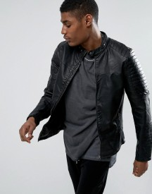 Pull&bear Biker Jacket With Perforated Detail In Black afbeelding