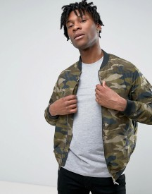 Pull&bear Bomber Jacket In Camouflage Print afbeelding