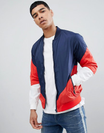 Pull&bear Bomber With Colour Block In Navy afbeelding