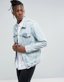 Pull&bear Denim Jacket In Bleached Wash afbeelding