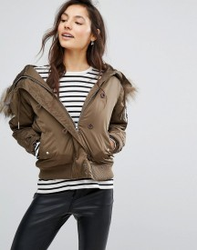 Pull&bear Faux Fur Hooded Aviator Bomber afbeelding