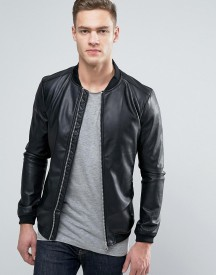 Pull&bear Faux Leather Bomber Jacket With Perforated Sleeves afbeelding