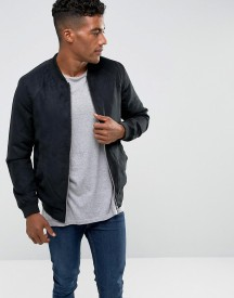 Pull&bear Faux Suede Bomber In Black afbeelding