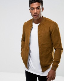 Pull&bear Faux Suede Bomber In Tan afbeelding