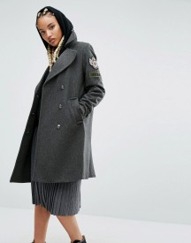 Pull&bear Military Coat With Badge Detail afbeelding