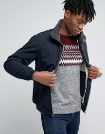 Pull&bear Navy Harrington Jacket With Faux Sherling Collar afbeelding