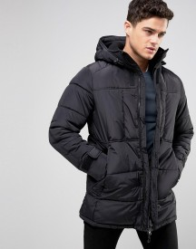 Pull&bear Padded Parka Jacket In Black afbeelding