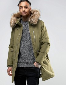 Pull&bear Parka With Faux Fur Hood In Khaki afbeelding