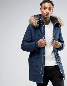Pull&bear Parka With Faux Fur Hood In Navy afbeelding