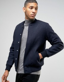 Pull&bear Wool Bomber In Navy afbeelding