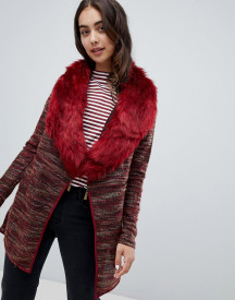 Qed London Coatigan With Faux Fur Collar afbeelding