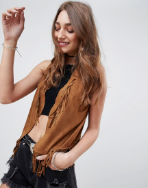 Qed London Faux Suede Festival Fringe Gilet afbeelding