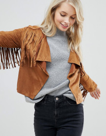 Qed London Faux Suede Festival Fringe Jacket afbeelding