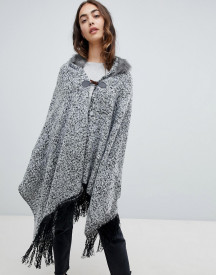 Qed London Poncho Cape With Fringe Trim afbeelding