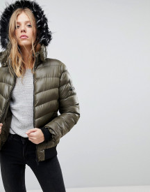 Qed London Short Padded Jacket With Hood afbeelding