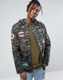 Reason Camo Parka In Dip Dye With Patches afbeelding