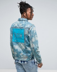 Reason Denim Jacket In Marble Wash With Back Print afbeelding