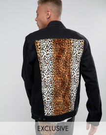Reclaimed Vintage Inspired Oversized Denim Jacket With Leopard Print Panel afbeelding