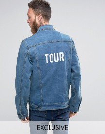Reclaimed Vintage Inspired Oversized Denim Jacket With Tour Back Print afbeelding
