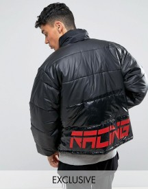 Reclaimed Vintage Inspired Puffer Jacket In Black With Back Print afbeelding