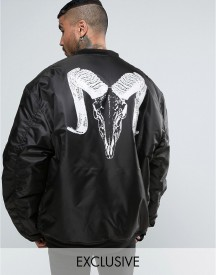 Reclaimed Vintage Inspired Super Oversized Bomber Jacket In Black With Ram Back Print afbeelding