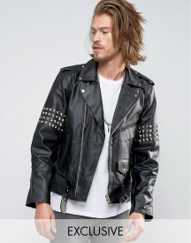 Reclaimed Vintage Leather Jacket With Studding afbeelding