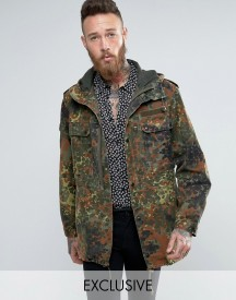 Reclaimed Vintage Revived Military Parka In Camo afbeelding