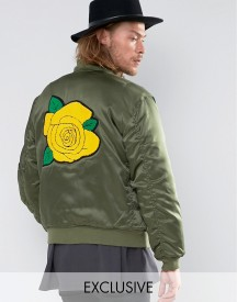 Reclaimed Vintage Satin Ma1 Bomber Jacket With Rose Back Patch afbeelding