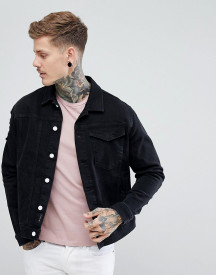 Religion Black Denim Jacket With Distressing afbeelding