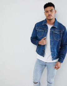 Religion Blue Denim Jacket With Placement Washes afbeelding