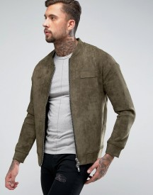 Religion Faux Suede Bomber Jacket afbeelding