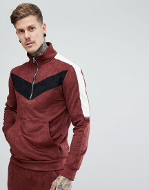 Religion Half Zip Funnel Jacket In Suedette afbeelding