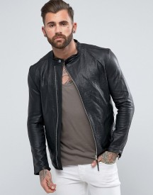 Religion Leather Jacket With Asymmetric Zip In afbeelding